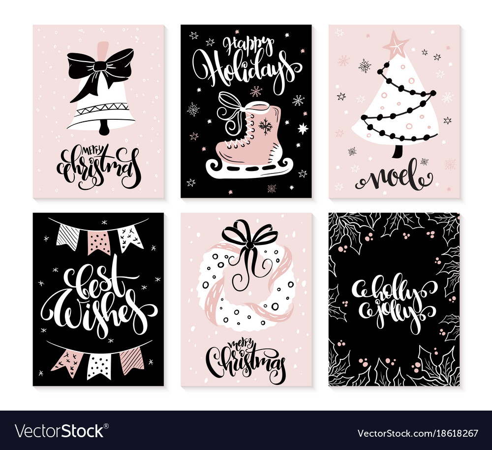 Set of christmas greeting cards with hand