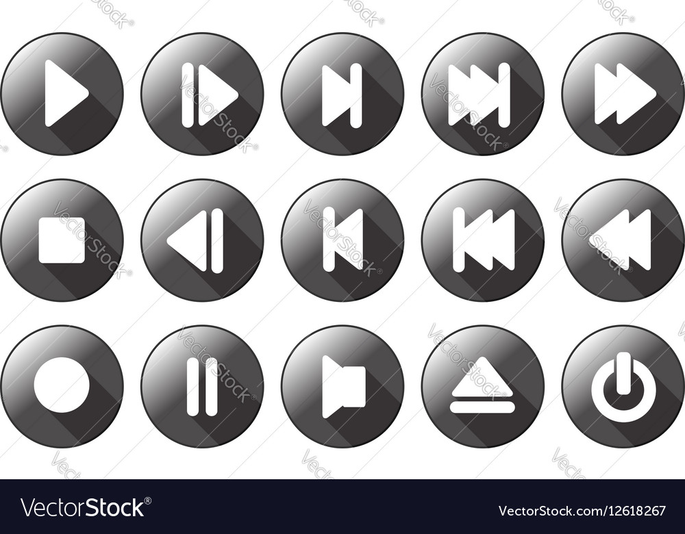 Simple multimedia icons vector image