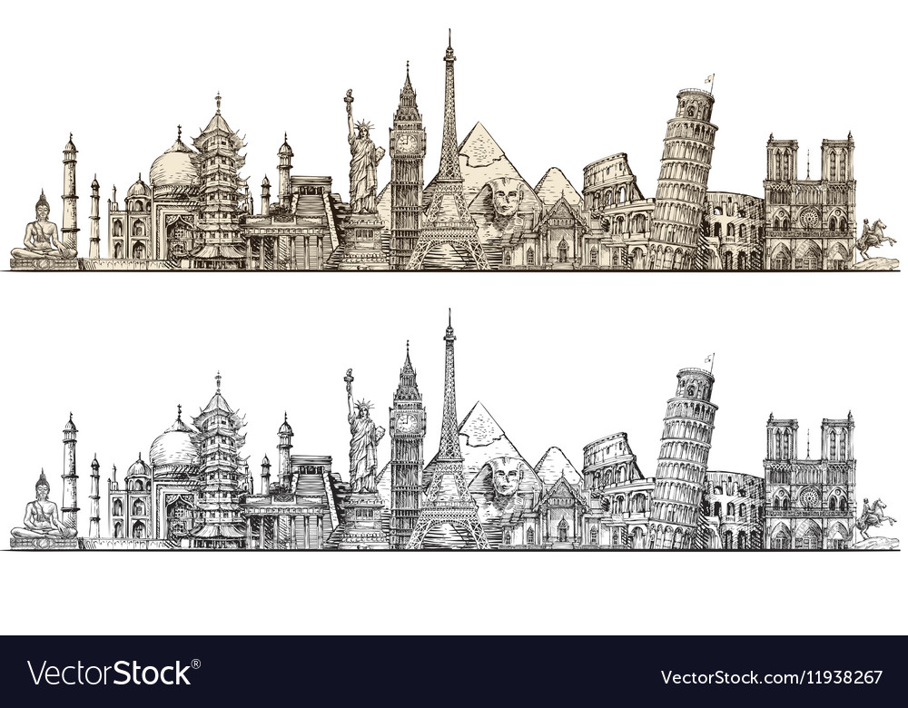 Travel Famous monuments of world Sketch