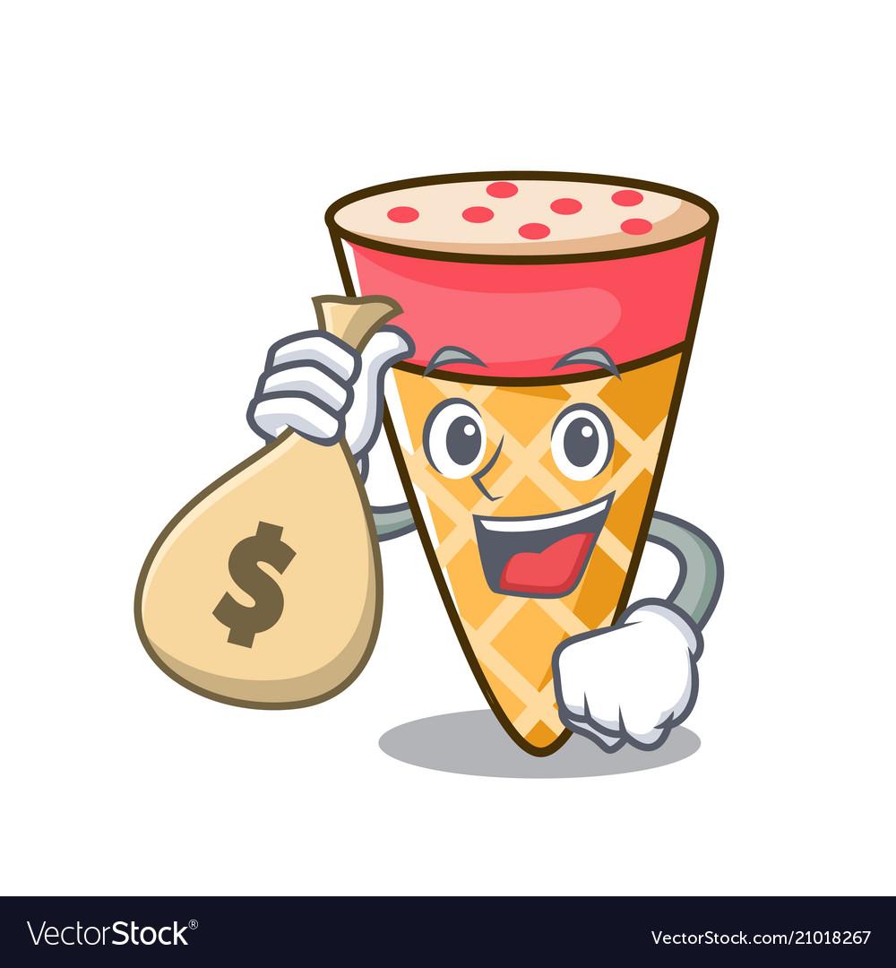 With money bag ice cream tone character cartoon