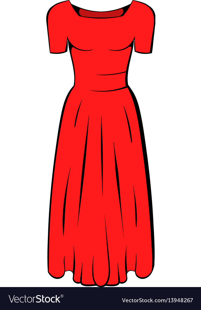 d7514bd06 Womens red dress icon cartoon Royalty Free Vector Image