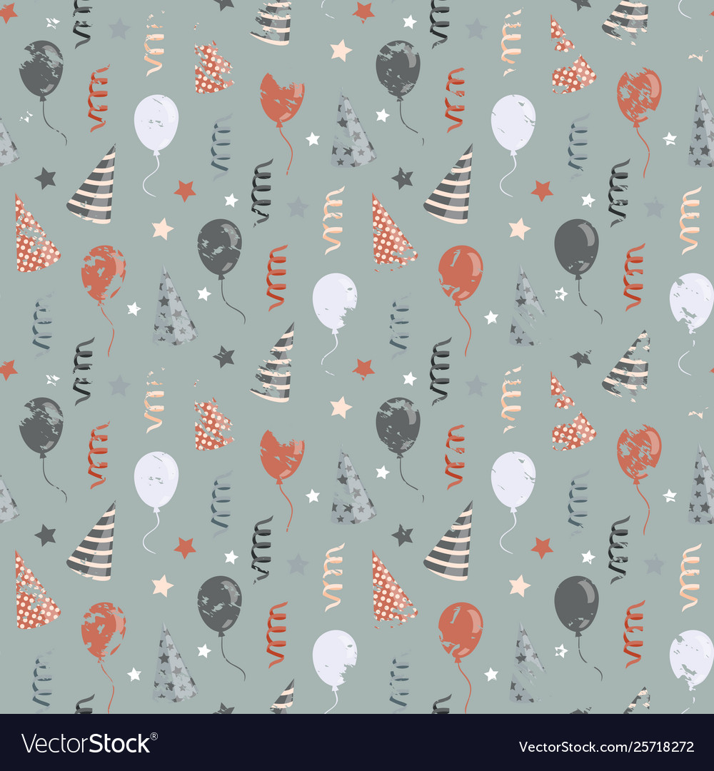 Birthday pattern with balloonsribbon