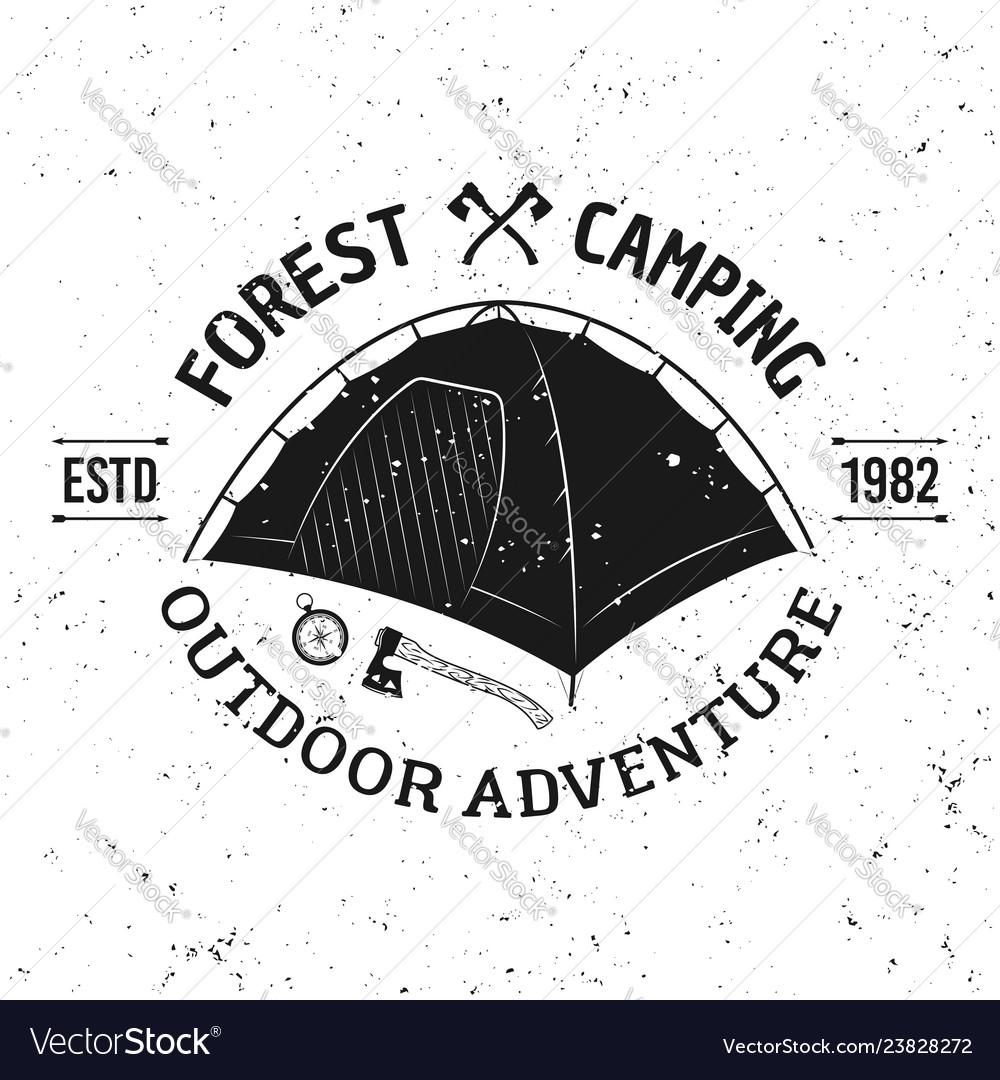 Camping tent vintage monochrome emblem