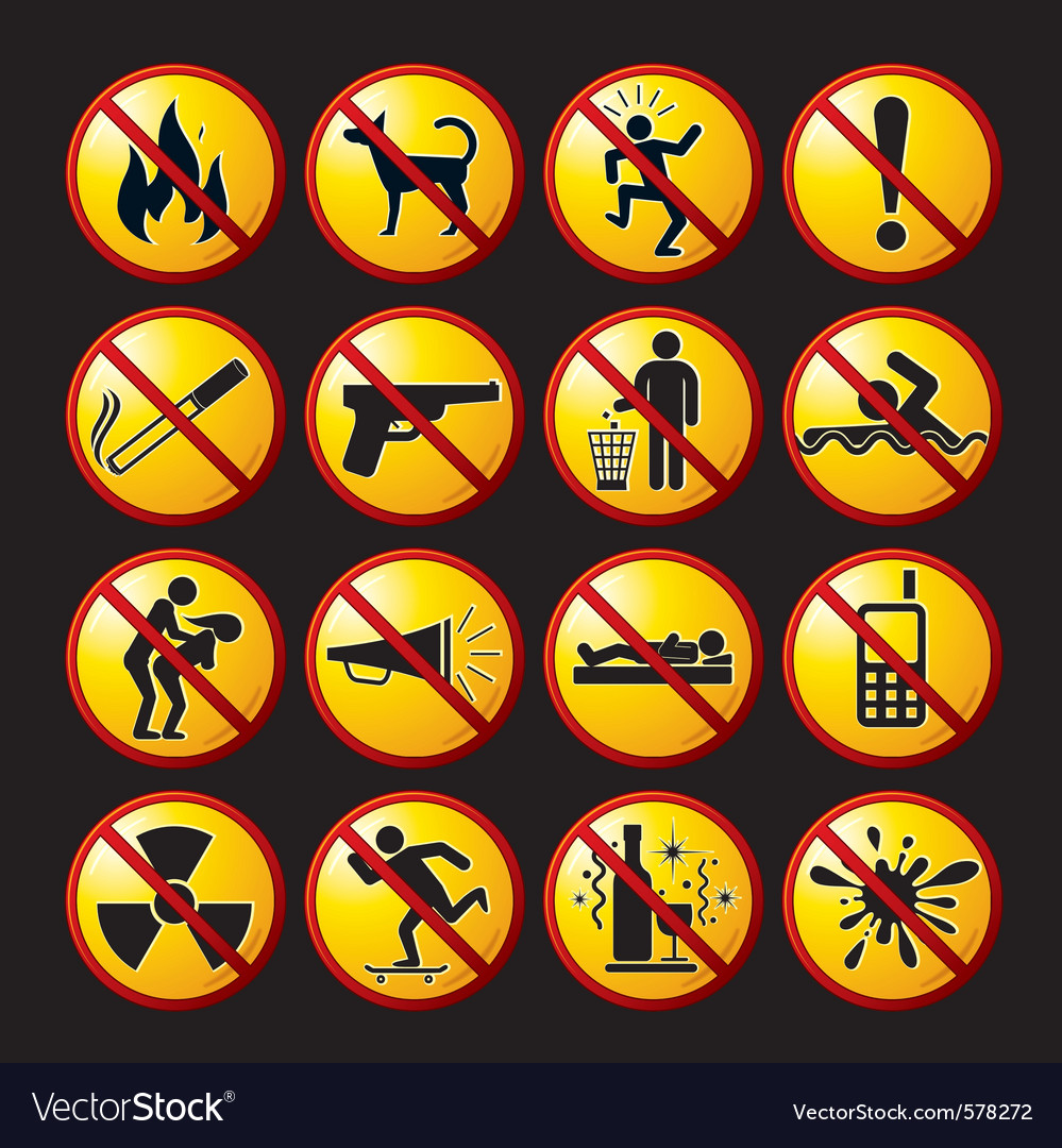 Funny prohibited icons and buttons vector image