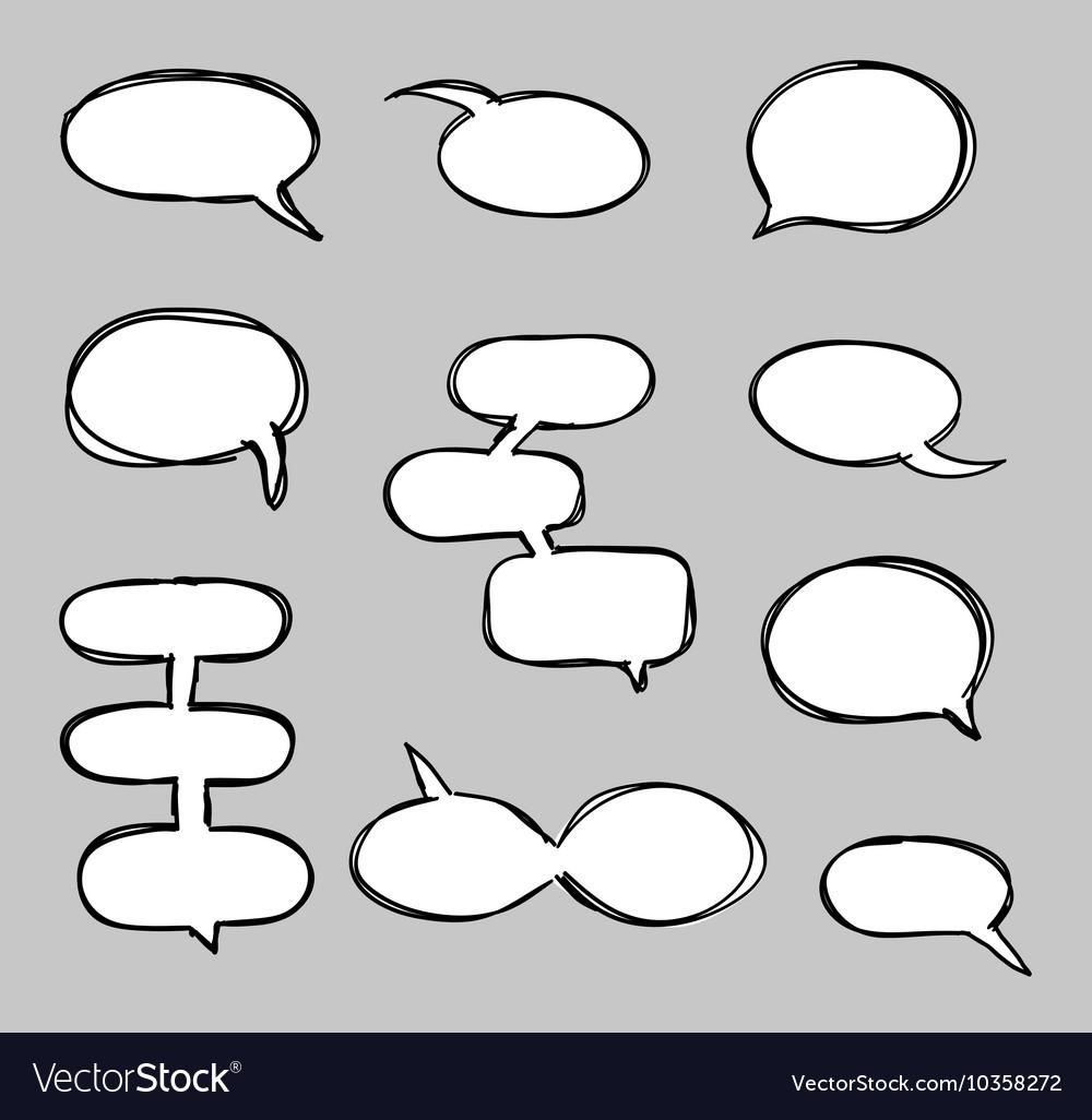 Hand-drawn speech bubbles sketchy doodle