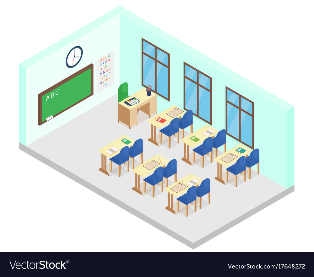 Isometric school class room