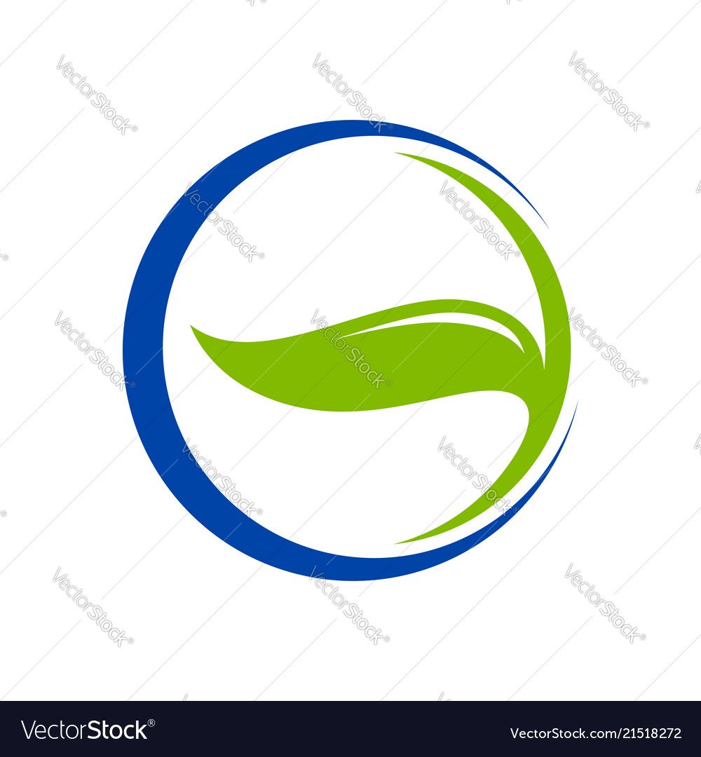 Leaf herbal blue circle crescent symbol logo