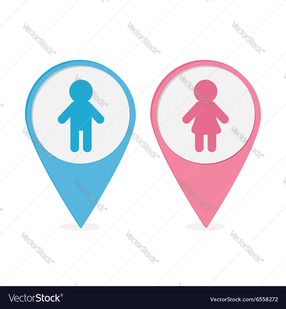 man and woman icon map pointer man woman icon pink and blue round vector image 5708
