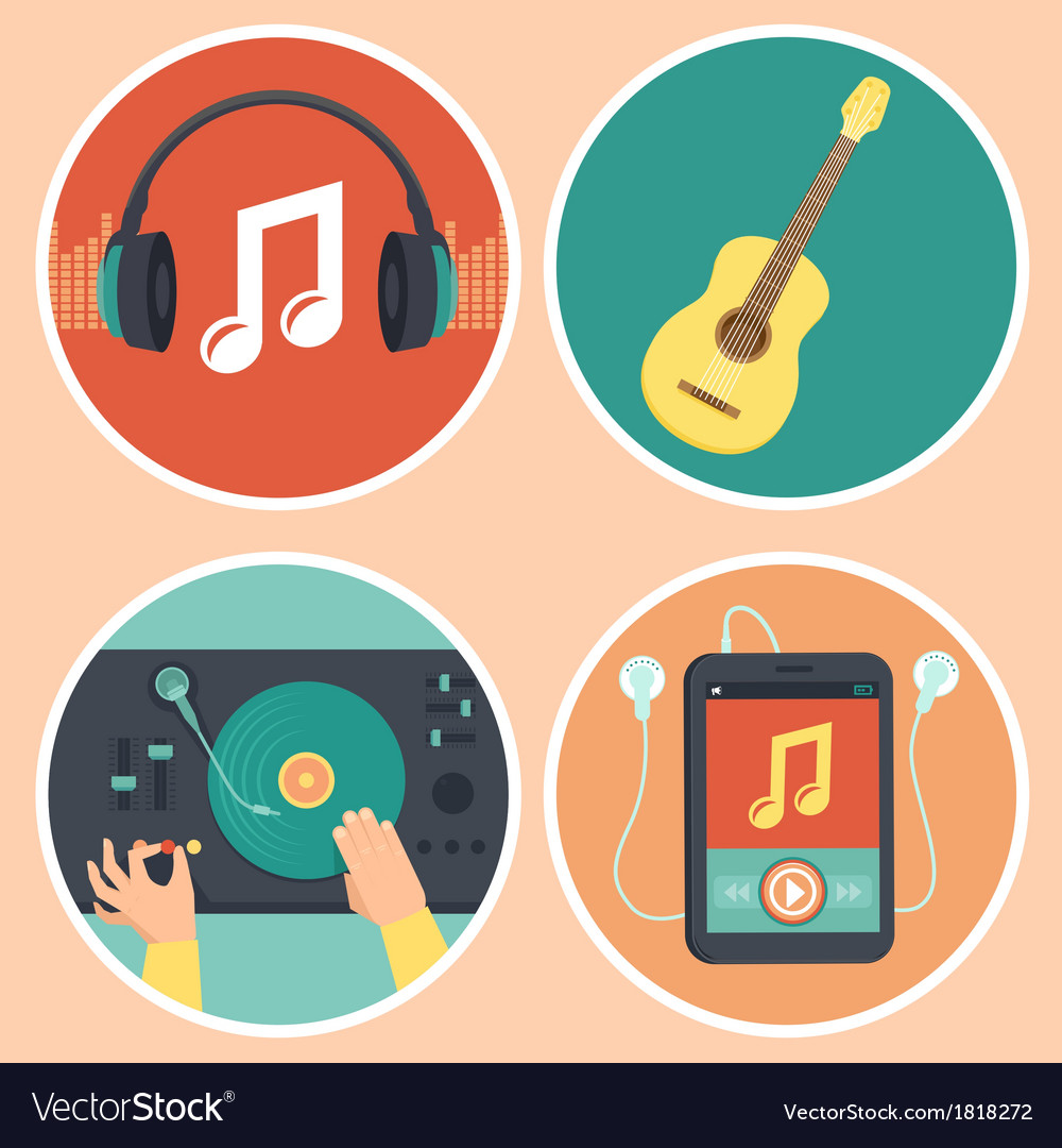 Music icons and signs in flat style