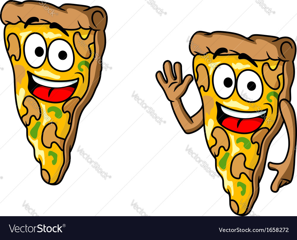 Pizza slice in cartoon style