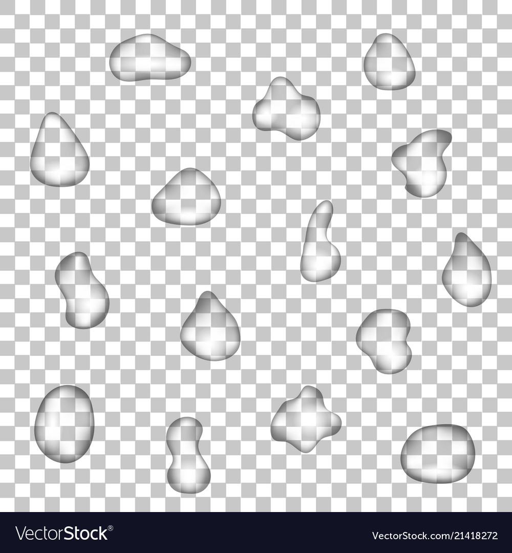 Realistic drops of water on a transparent