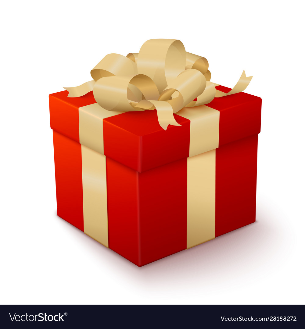 Realistic red gift box with golden bow