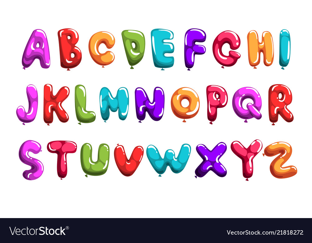 Set of colorful font in form balloons children s