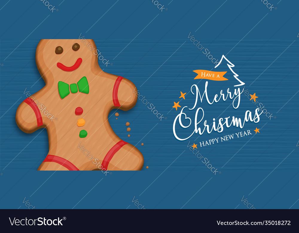 Year gingerbread man cartoon banner