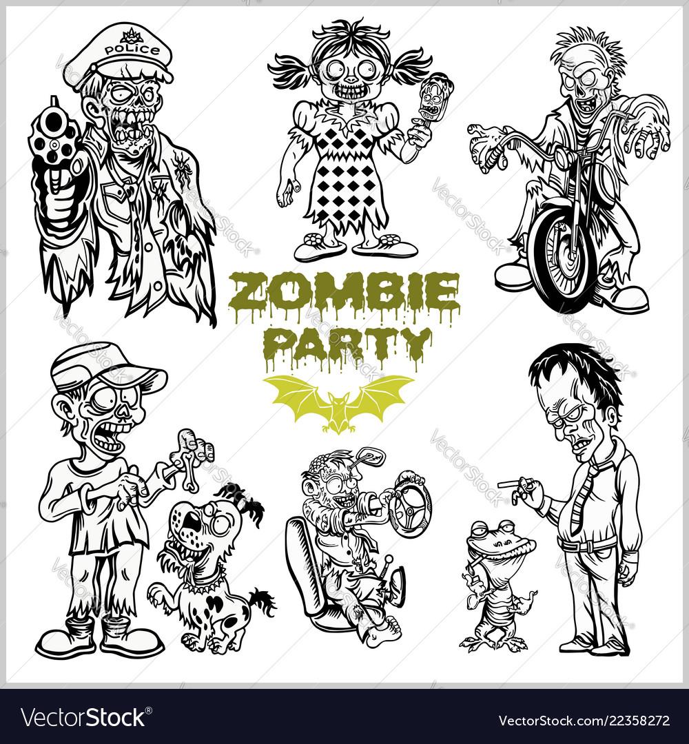 Zombie comic set - cartoon zombie