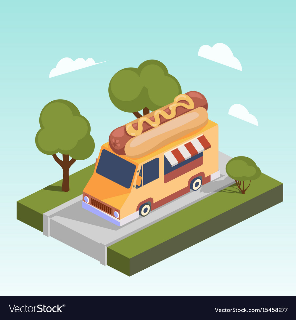Fast food motorhome with hot dog isometric
