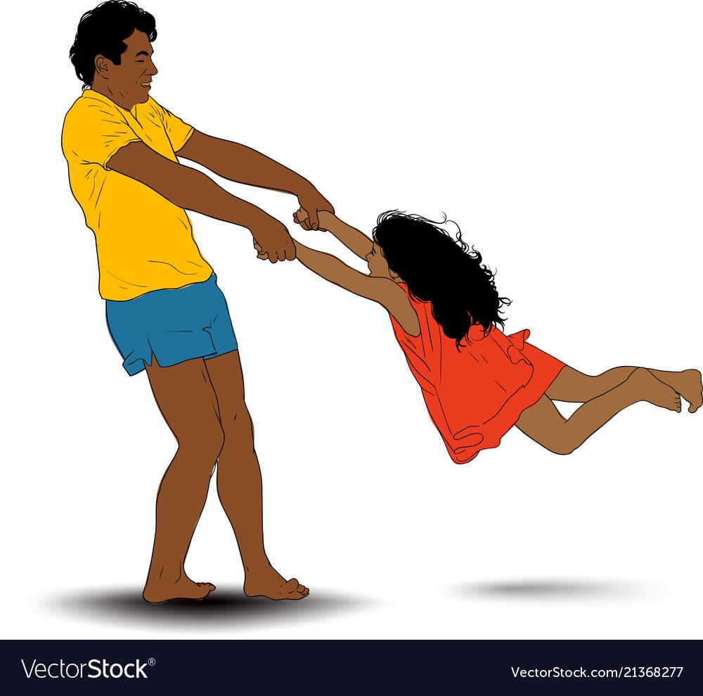 Father rotate girl