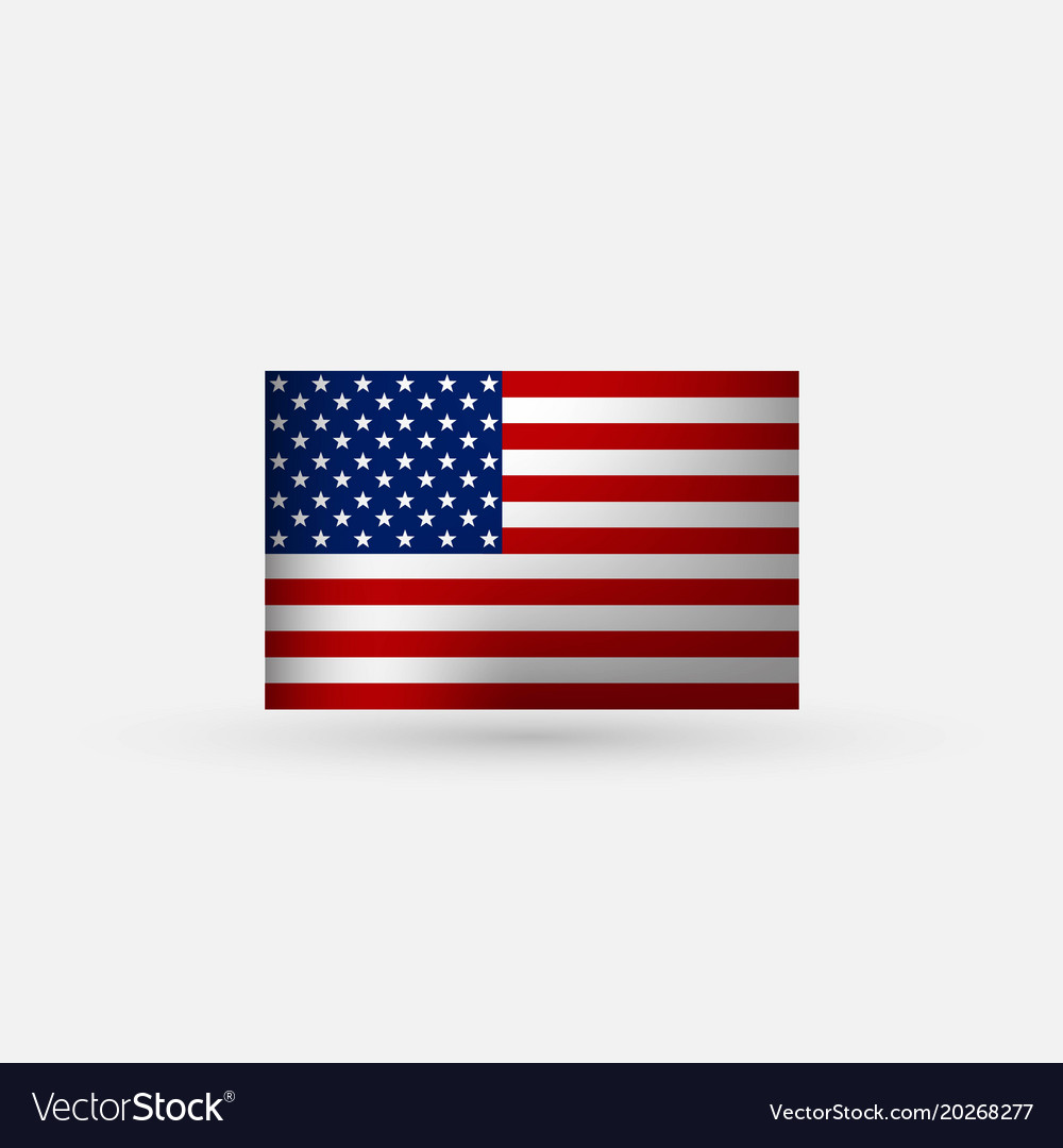 Flat and waving american flag