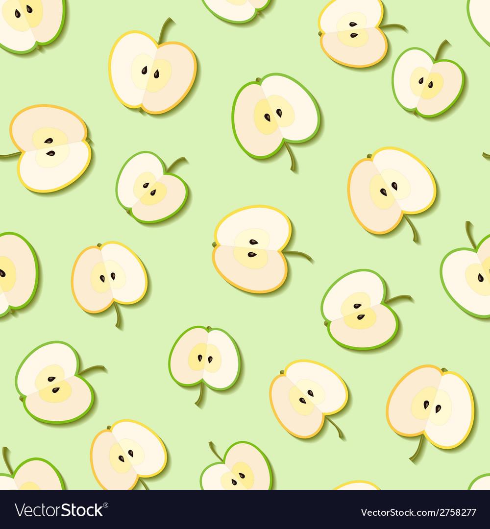 Fresh green organic apples seamless pattern