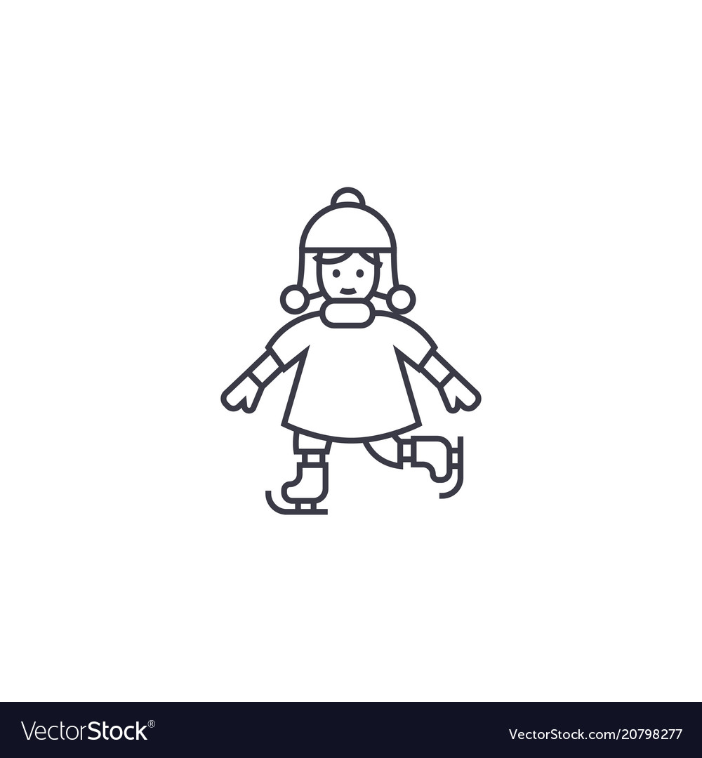 Girl skating line icon sign