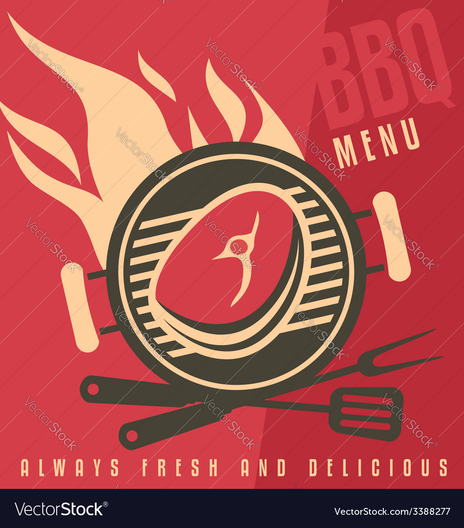 grill cover menu template royalty free vector image