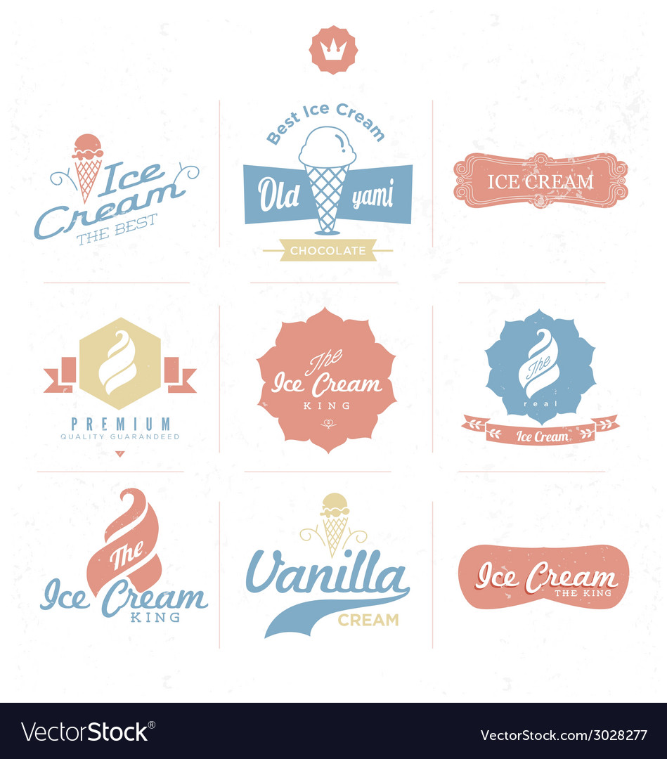 Ice cream shop logo vector image
