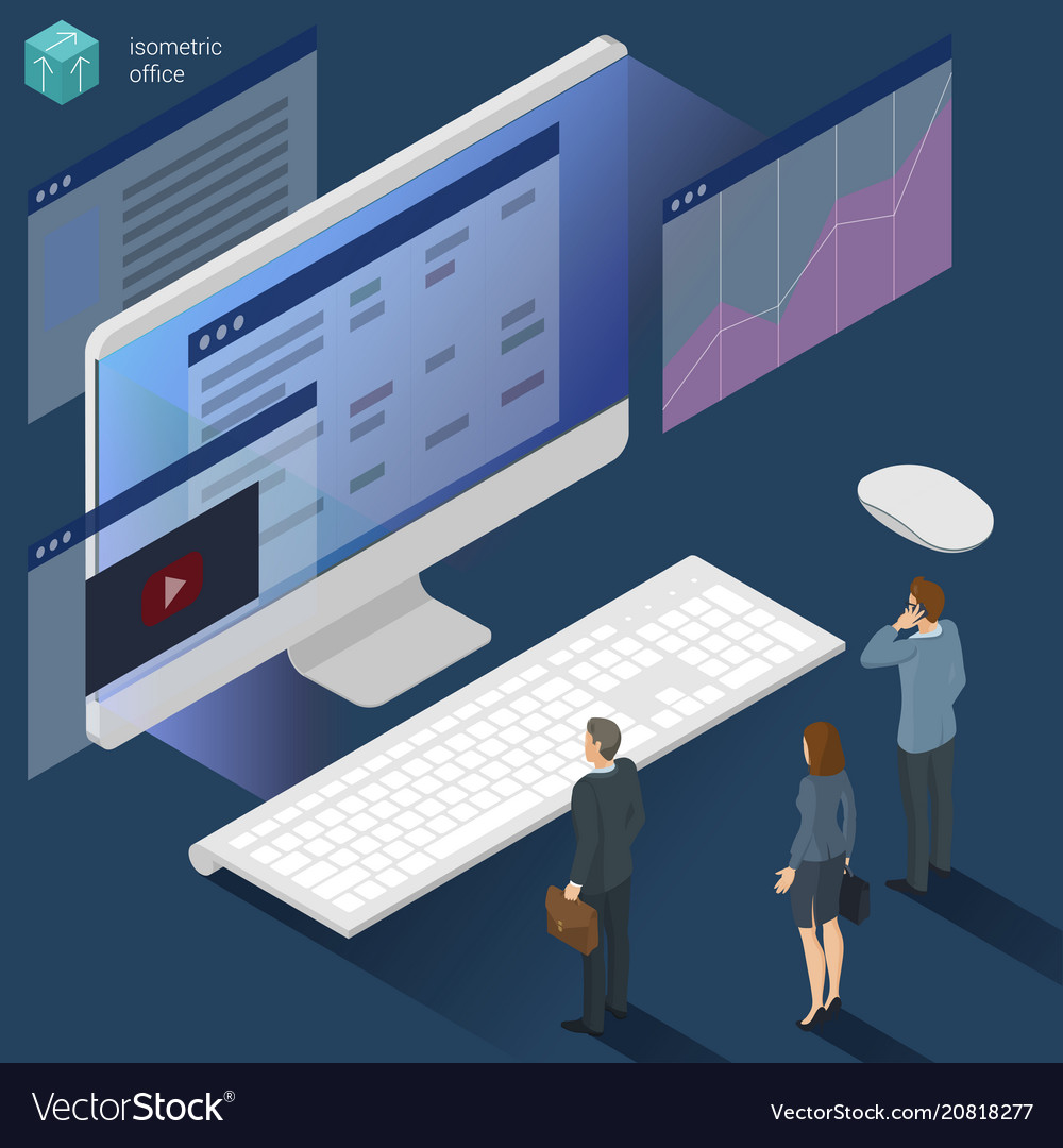 Isometric 3d flat design office work