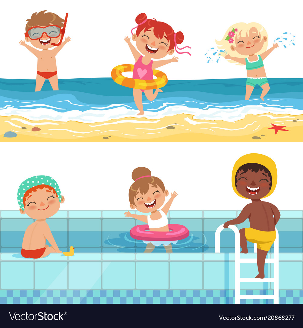 Kids playing in water characters isolate