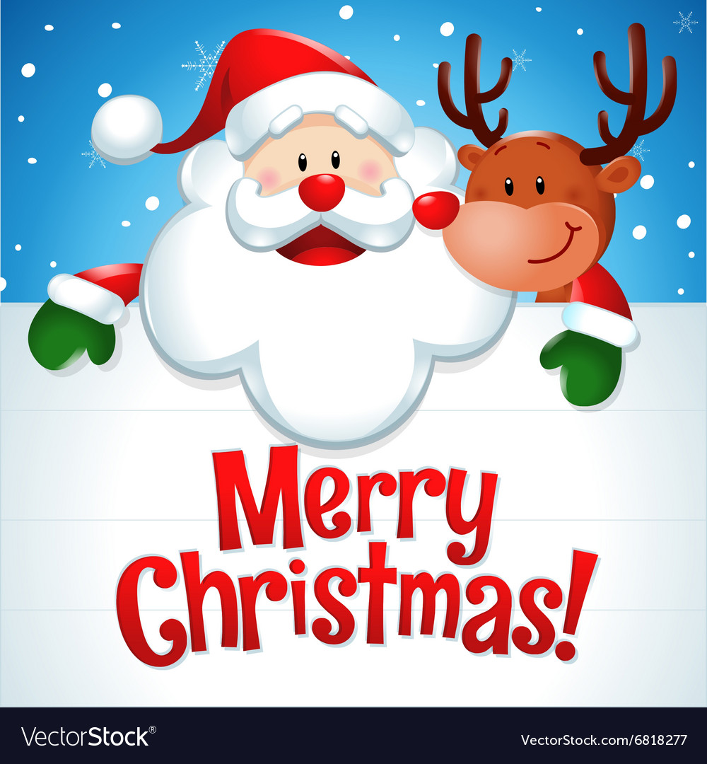 merry christmas santa claus and reindeer in blue vector image