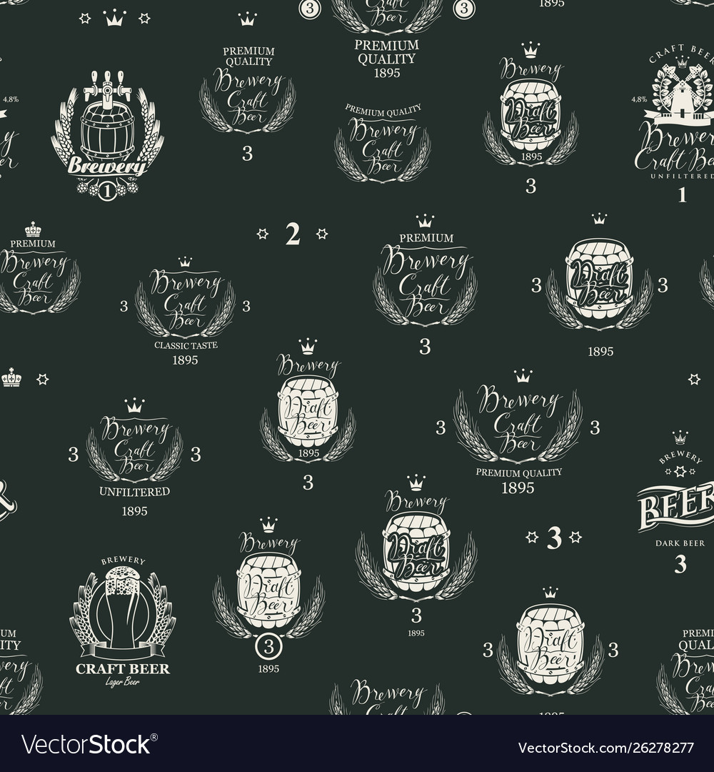 Seamless pattern with various beer labels