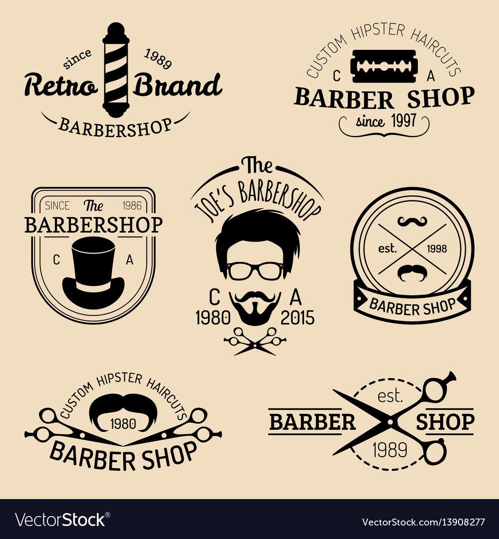 Set vintage hipster barbershop logos