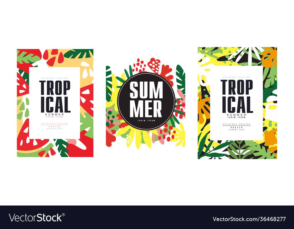 Tropical banner templates set summer poster card
