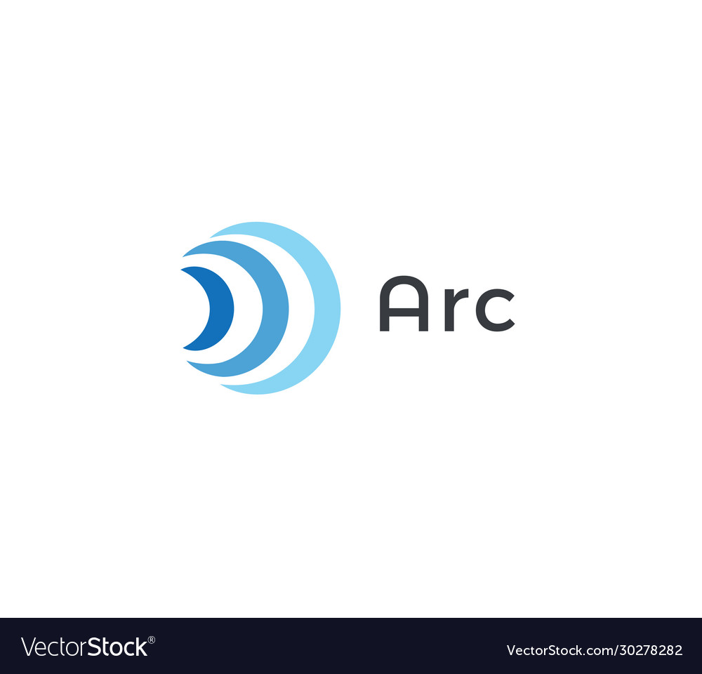 Abstract arc icon blue radio and wifi waves
