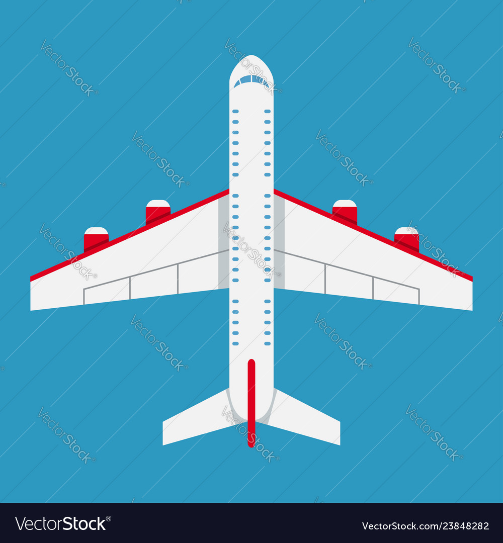 Airplane of top view aircraft icon in flat style