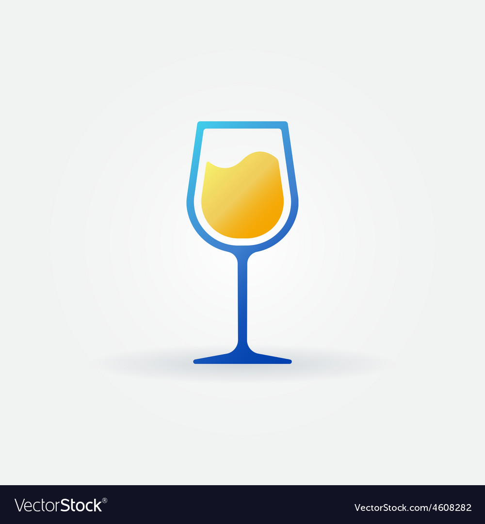 Blue glass of white wine icon