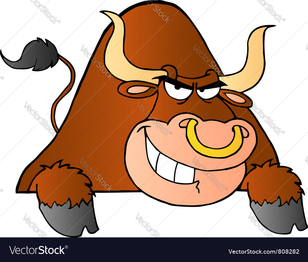 Brown Bull Over A Sign