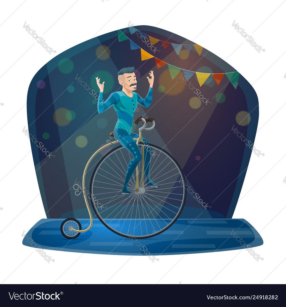 Circus acrobat riding vintage bicycle on arena