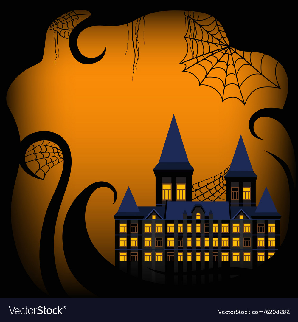 Halloween background border with castle
