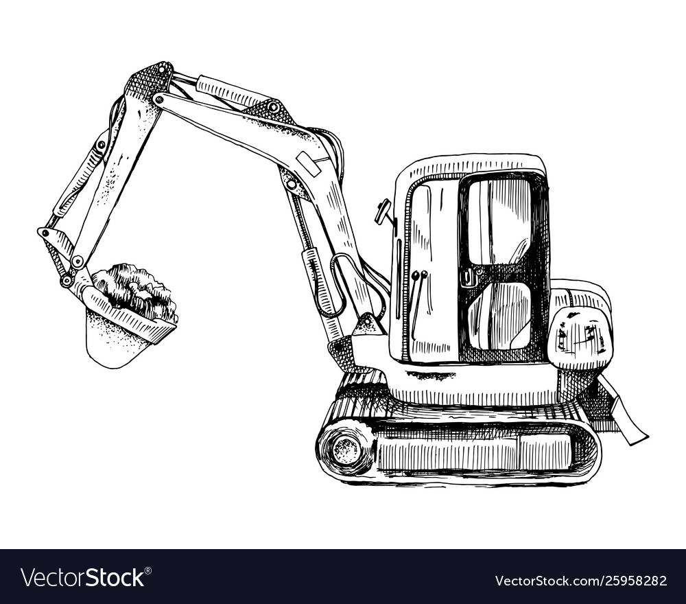 Hand drawn mini excavator