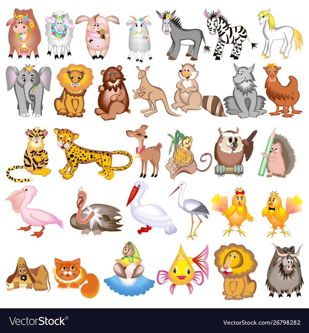 Set cartoon animals with cow sheep goat lion