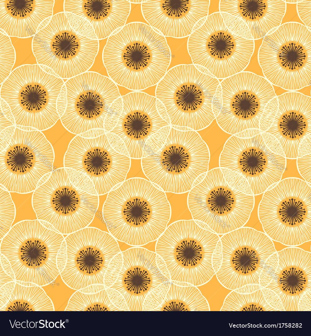 White poppy field 1950s vintage pattern