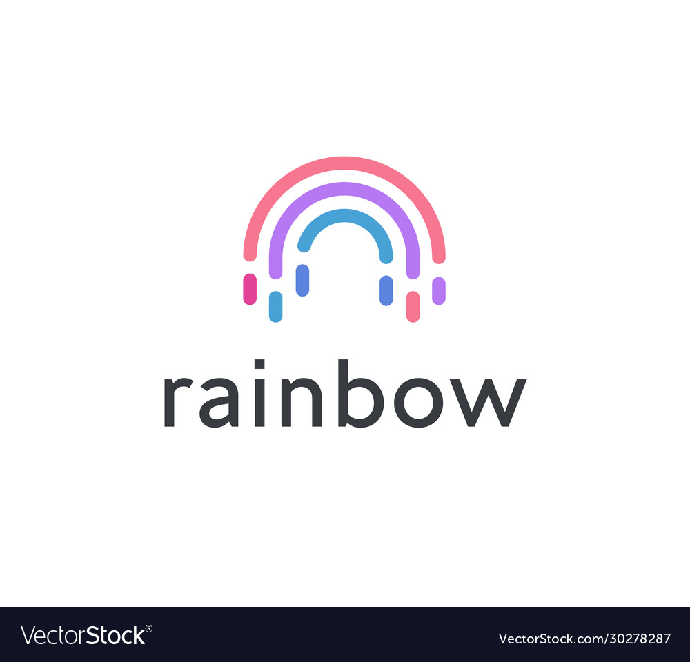 Abstract rainbow icon colorful semicircle