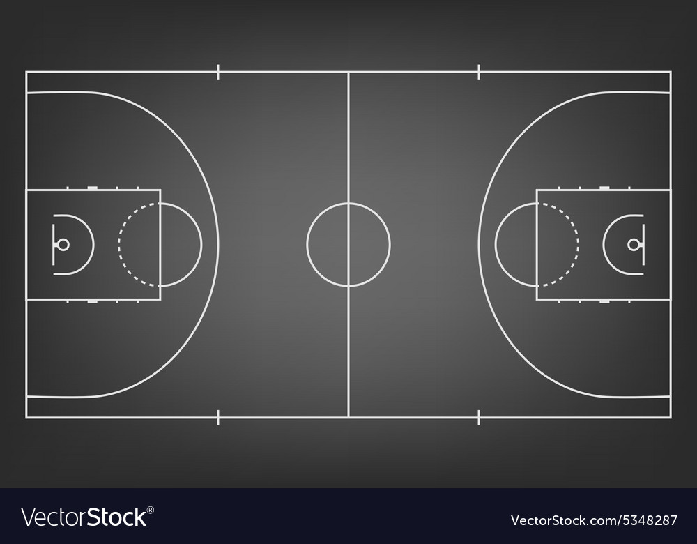 Black basketball court - top view Royalty Free Vector Image