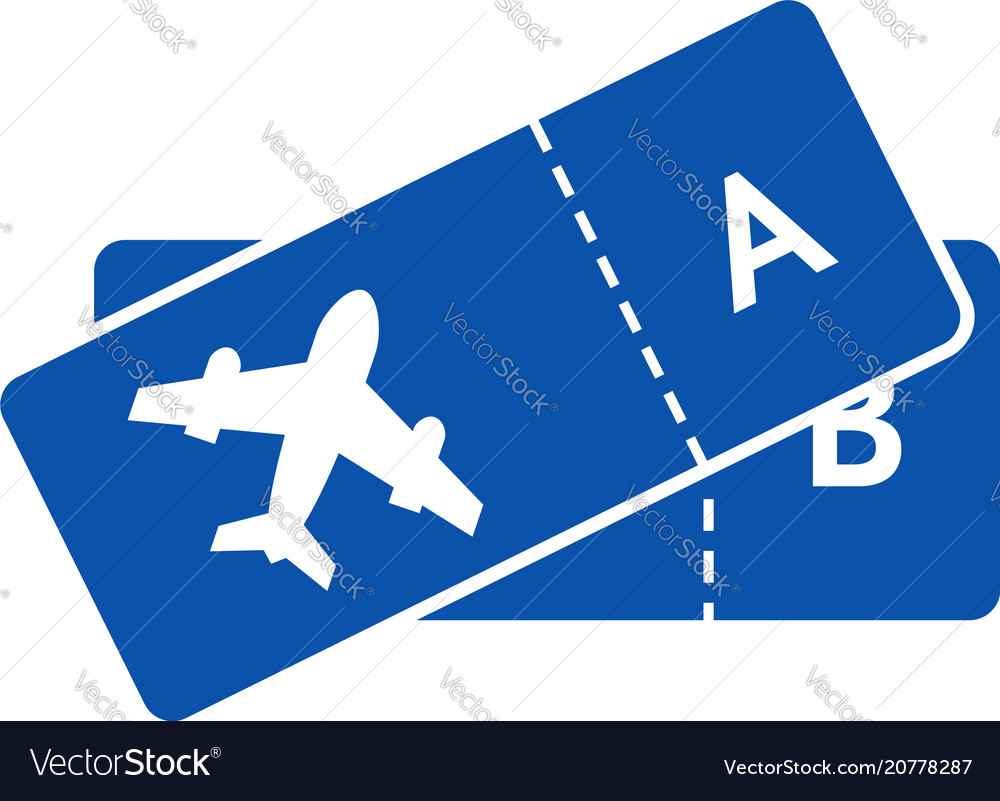 Blue icon of tickets on plane for airline