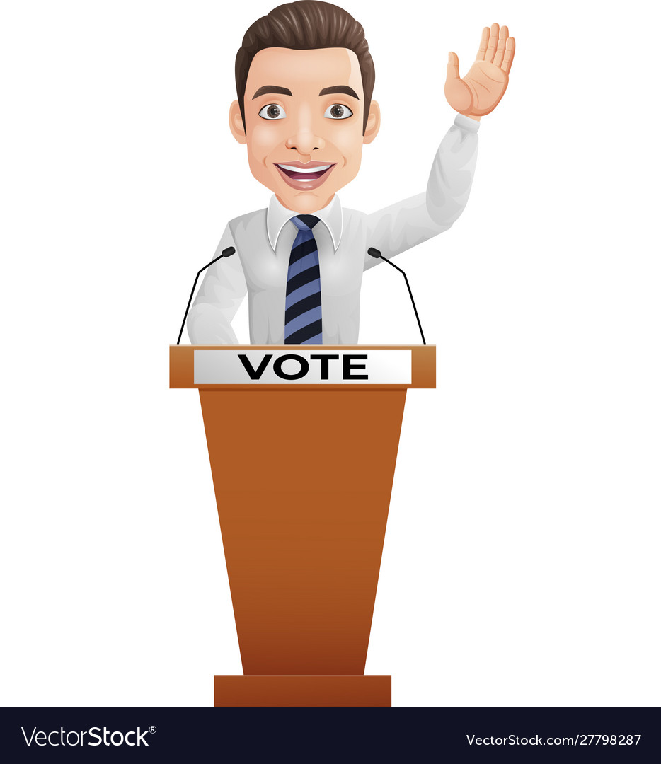 Businessman speaker on presentation podium
