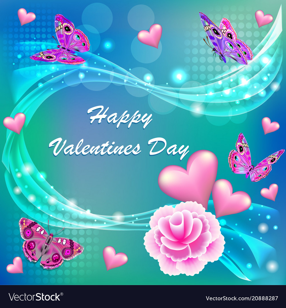 Card happy valentines day with a flower and