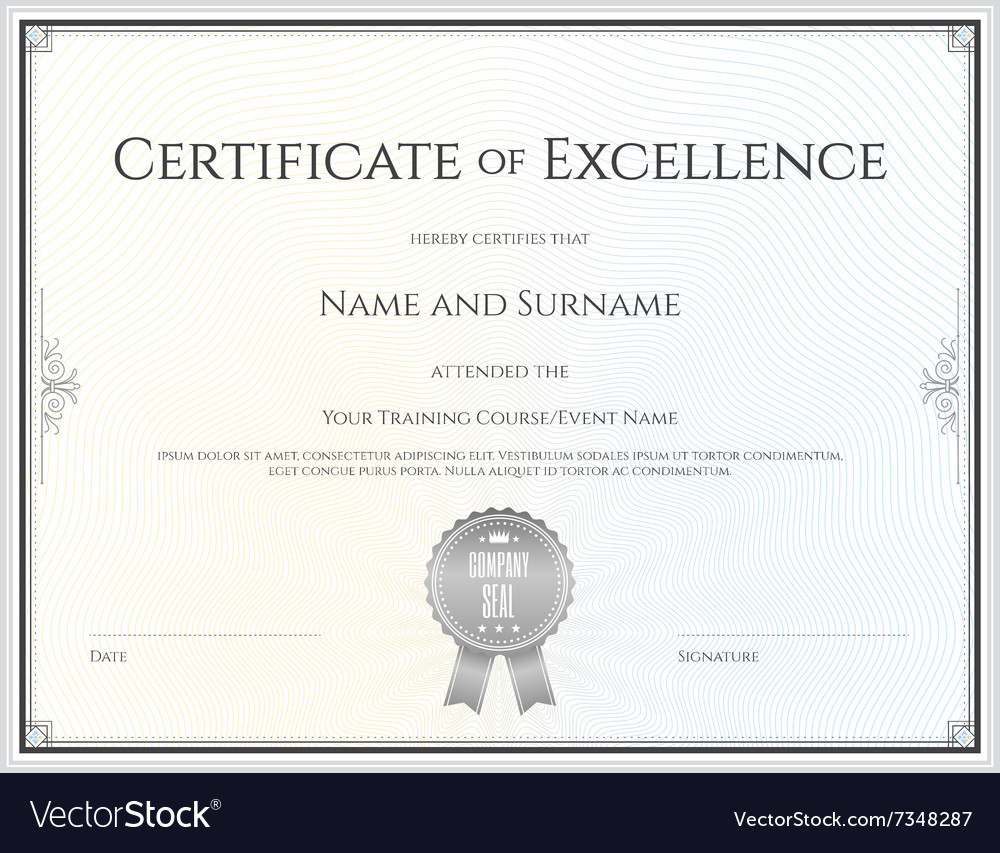 Certificate of excellence template vector image