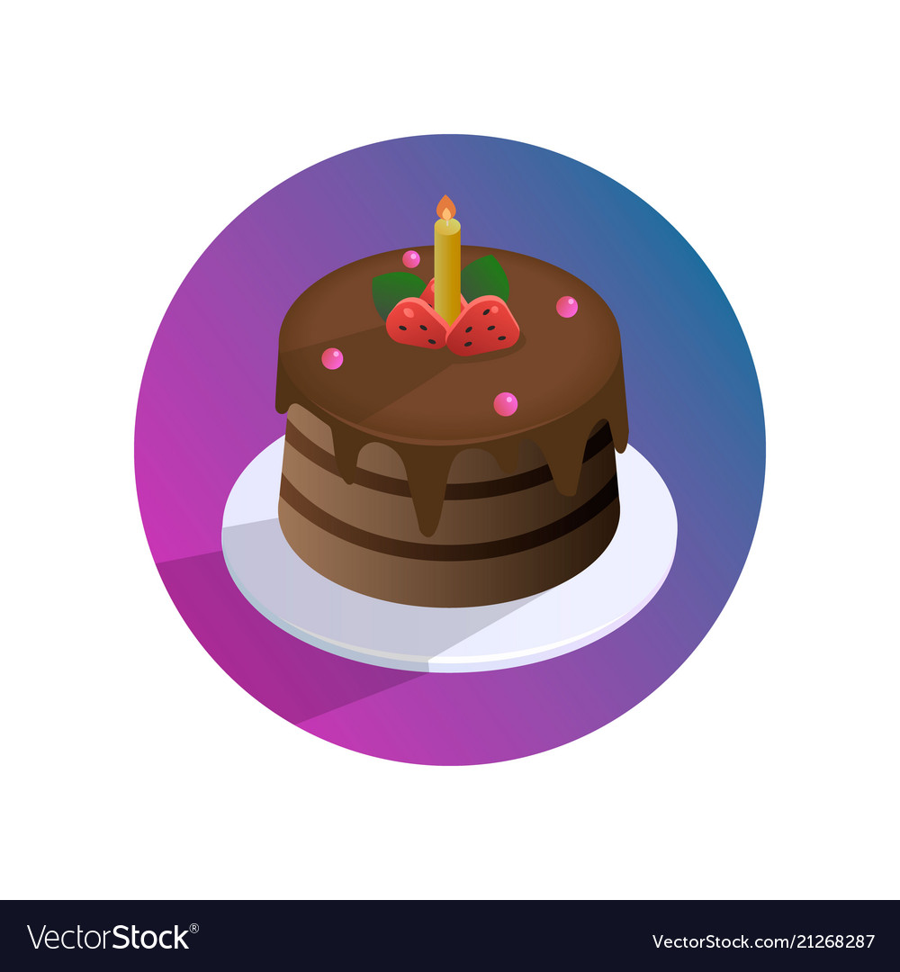 Chocolate Birthday Cake With Strawberries Vector Image
