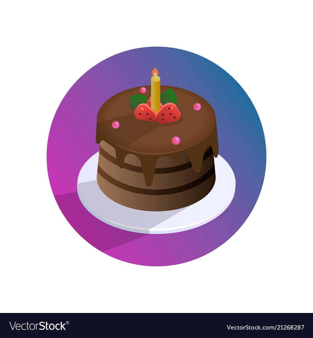 Chocolate birthday cake with strawberries