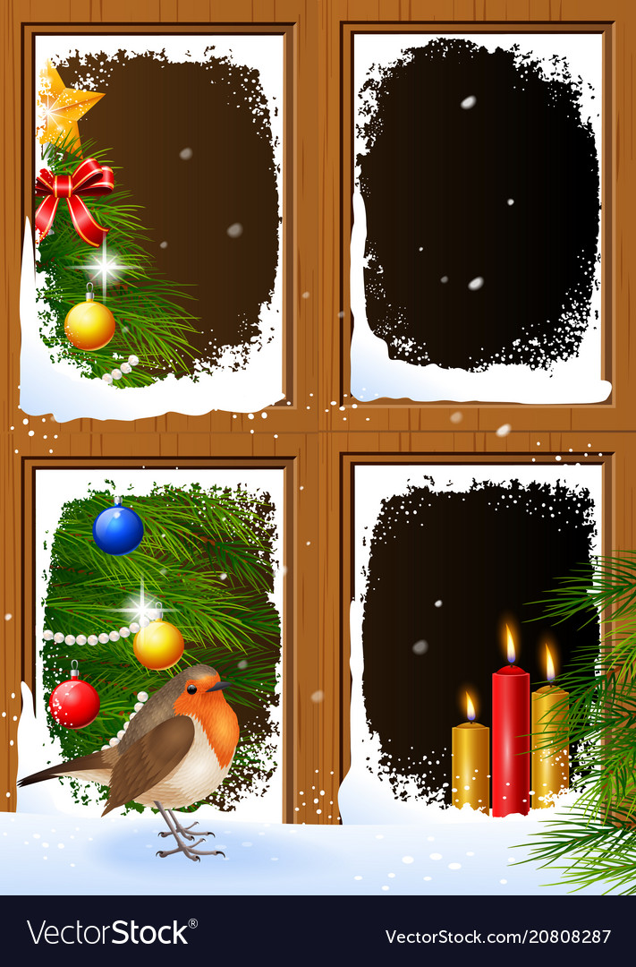 christmas scenes seen through a wooden window vector image